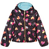 Moschino Black All Over Heart Print Hooded Jacket