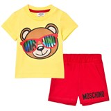 Moschino Yellow and Red Bear Print Tee and Shorts Set