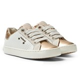 Geox White and Gold Metallic Kiwi Laced Trainers