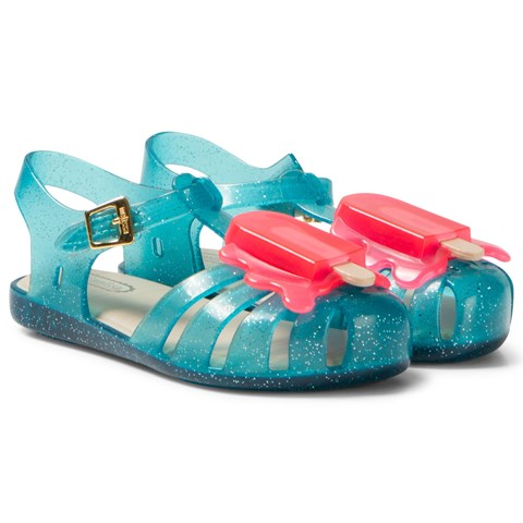 Turquoise Glitter Lollipop Jelly Sandals