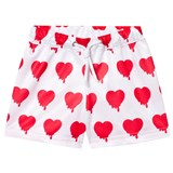 Caroline Bosmans White Heart Peace For President Shiny Wide Shorts
