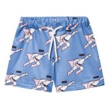Caroline Bosmans Blue Superman Peace For President Shiny Wide Shorts