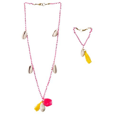 Multi Pom Pom and Shell Enya Necklace