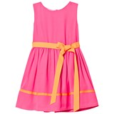 Holly Hastie Neon Pink Georgette Dress with Orange Belt