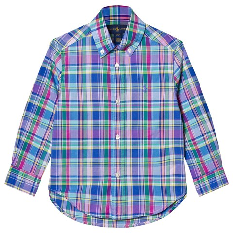 Blue and Pink Long Sleeve Madras Shirt