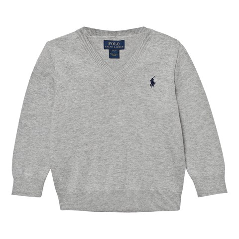 Grey V Neck Cotton Jumper