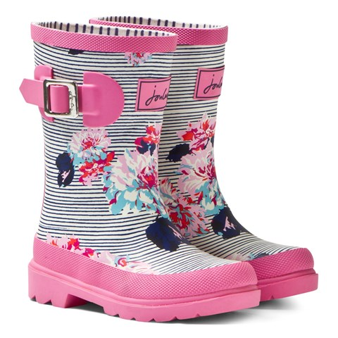 Pink and Navy Stripe Floral Wellies
