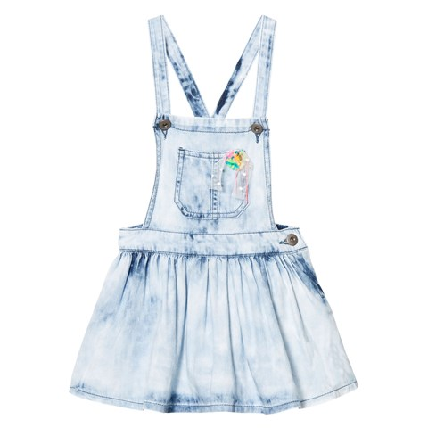 Acid Wash Denim Dungaree Dress with Pom Pom