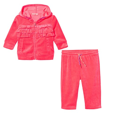 Pink Velour Ruffle Front Tracksuit