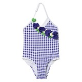 Mayoral Blue Gingham Flower Applique Swimsuit