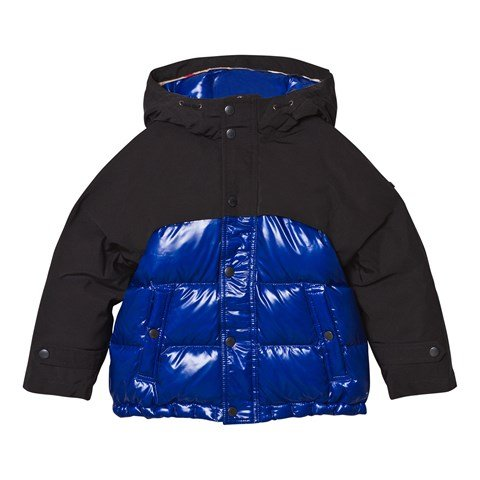 Navy and Black Puffer Coat with Coated Yoke and Hood