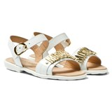 Moschino White Vernice Branded Sandals
