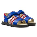 Moschino Blue and Red Vitello Branded Sandals