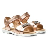 Moschino Rose Gold Laminato Branded Sandals