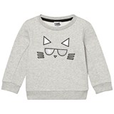 Karl Lagerfeld Kids Grey Glitter Choupette Embroidered Sweatshirt