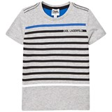 Karl Lagerfeld Kids Grey Marl Stripe Branded Tee