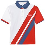 BOSS Navy, White and Red Banner Stripe Polo