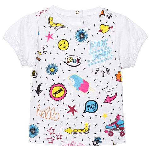 Little Marc Jacobs White Colour Graphics Print Tee