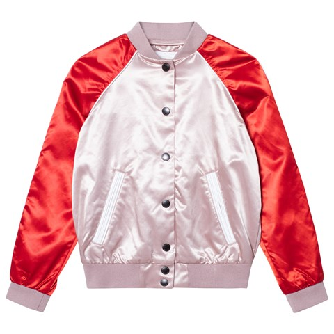 Burberry Pink Satin Bomber with Burberry Applique