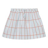 Tinycottons Light Blue/Red Big Grid Wv Skirt