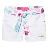 Lelli Kelly White Denim Shorts with Floral Tie