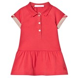 Burberry Coral Pique Polo Dress with with Check Turn Ups
