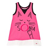 Sonia Rykiel Pink Cat Print Vest Dress