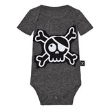 NUNUNU Charcoal Skull Patch Onesie