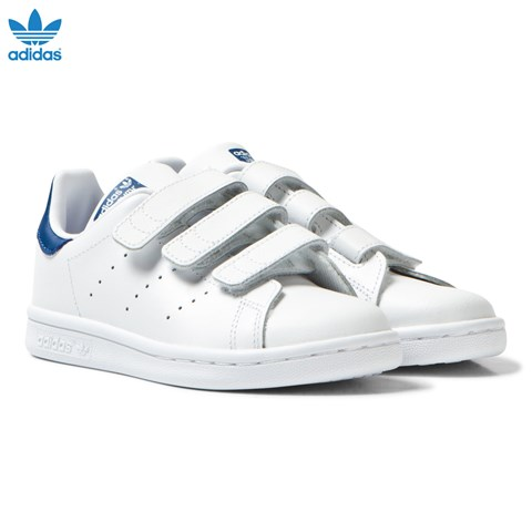 White and Blue Kids Stan Smith Trainers