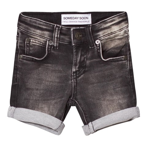 Someday Soon Washed Black Carl Denim Shorts