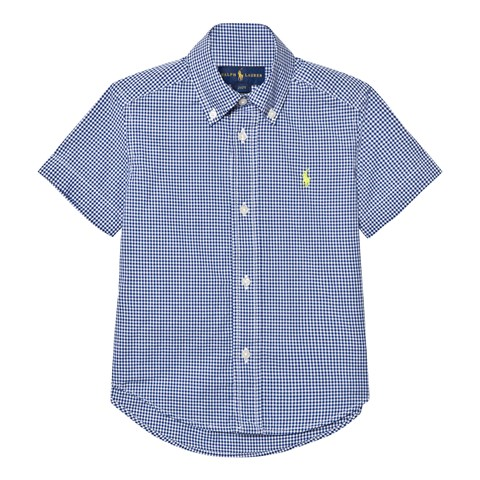 Navy Micro Gingham Short Sleeve Shirt