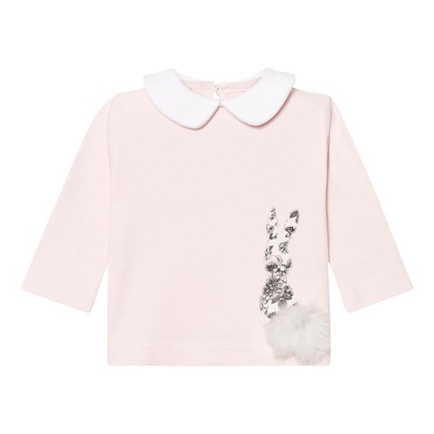 Pink Collared Top with Rocking Horse Motif