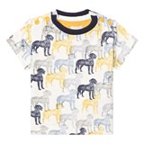 The Little Tailor Cream and Blue Dog Print Tee