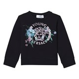 Young Versace Navy Medusa and Floral Embroidered Sweatshirt