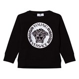 Young Versace Black and Silver Medusa Print Sweatshirt