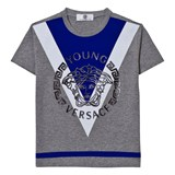 Young Versace Grey and Blue Medusa Print Tee
