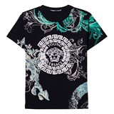 Young Versace Black and Green Medusa Print Tee