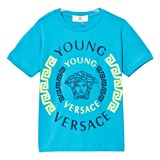 Young Versace Blue and Neon Green Medusa Print Tee