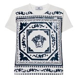 Young Versace White and Navy Rubberised Medusa Print Tee