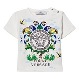 Young Versace White Tropical Medusa Print Tee