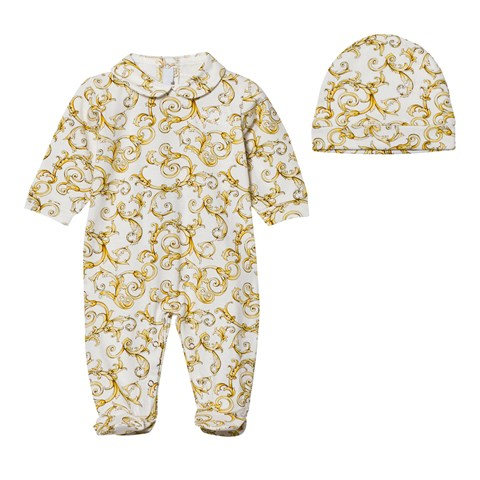 White and Gold Baroque Print Babygrow and Hat in Gift Box