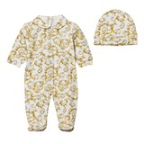 Young Versace White and Gold Baroque Print Babygrow and Hat in Gift Box