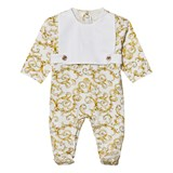Young Versace White and Gold Baroque Print Bib Front Medusa Babygrow