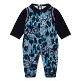 Young Versace Navy and Blue Baroque and Medusa Babygrow