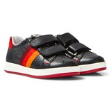 Paul Smith Junior Navy Leather Double Velcro Strap Trainer