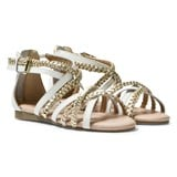 Michael Kors White and Gold Zia Demi Ayla Strappy Sandals
