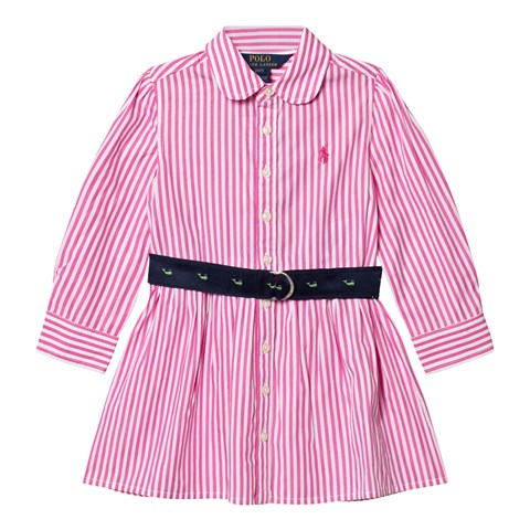 Pink and White Drop Waist Bengal Stripe Shirt Dress
