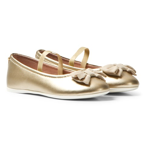 Mayoral Gold Bow Detail Pumps with Strap