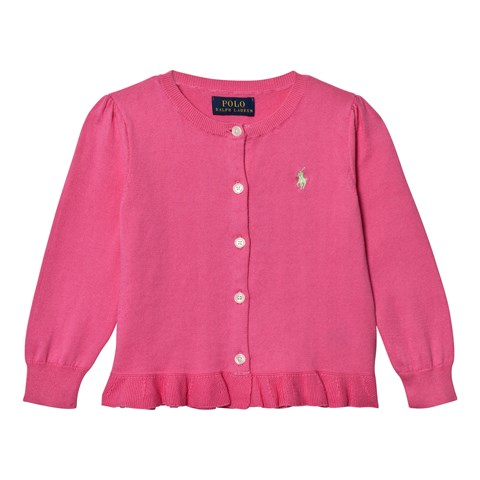 Pink Textured Knit Peplum Cardigan
