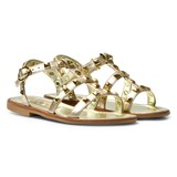 Step2wo Gold Leather Studded Sophia Sandals